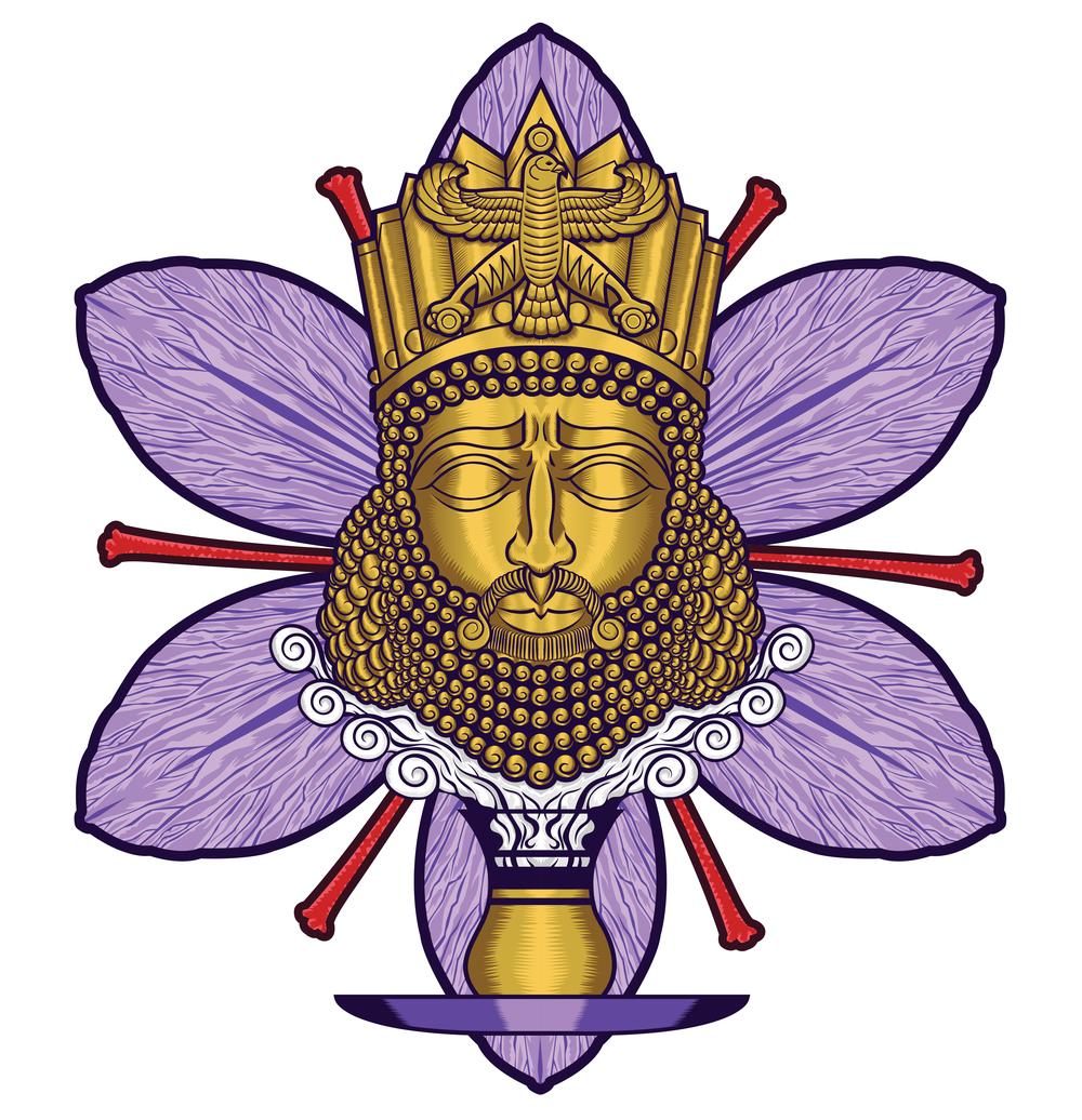 zafaron-iran-persian-king-cyrus-saffron-tea-flower-art-artist-roberto-orozco-design-studio-illustration-vector-vectorart-digital-digitalart-tea-packaging-label-graphicdesign-graphicdesigner-draw-sketch-labeldesign-gold-purple-red-yellow-.jpg