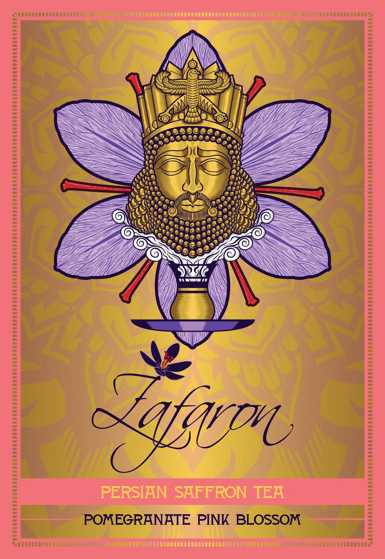 zafaron-iran-persian-king-cyrus-saffron-tea-flower-art-artist-roberto-orozco-design-studio-illustration-vector-vectorart-digital-digitalart-tea-packaging-label-graphicdesign-graphicdesigner-draw-sketch-labeldesign-gold-purple-red-yellow-front-pomegranate-pink-blossom-flavor-.jpg