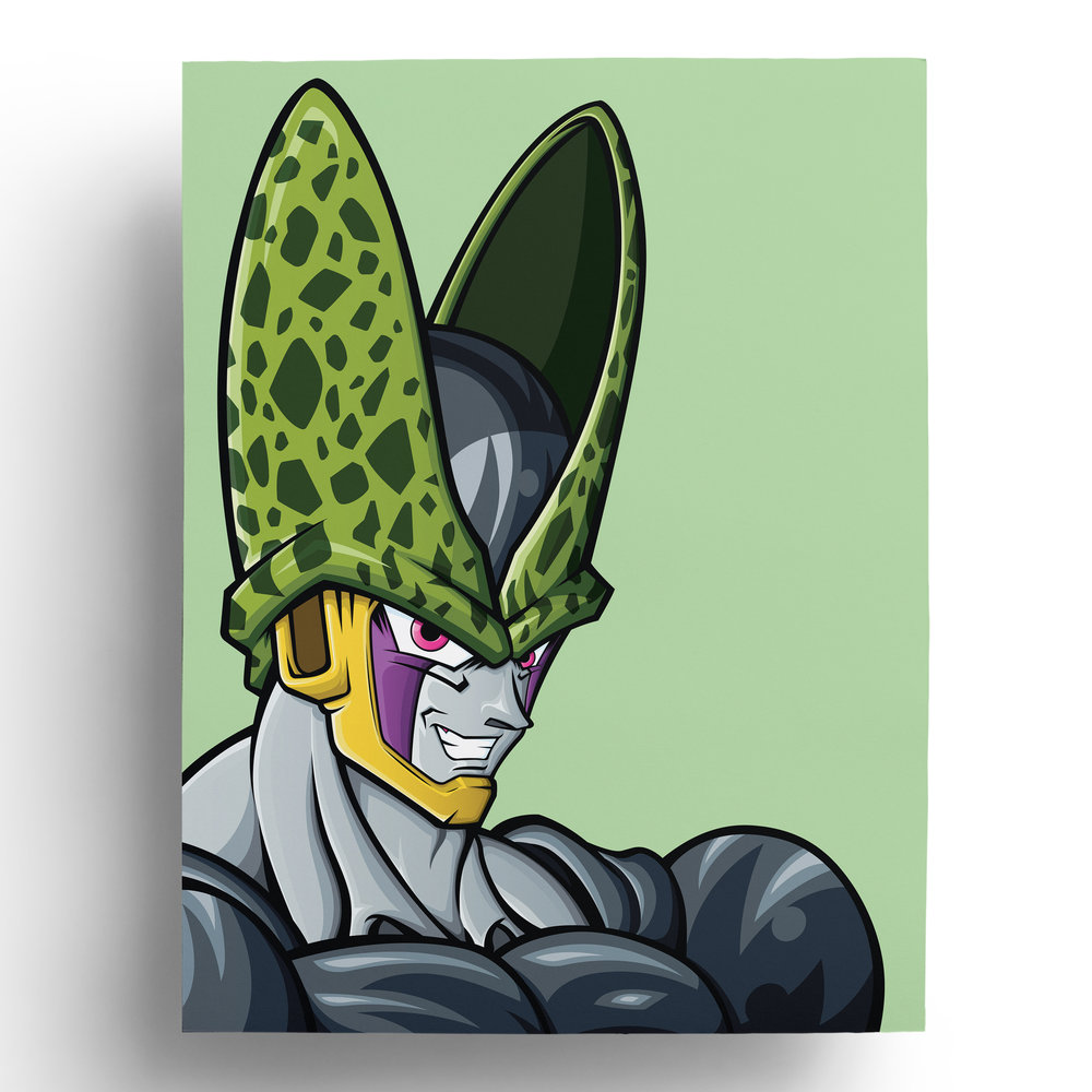 dragonball-dragonballz-dbz-perfect-cell-vector-art-illustration-print-roberto-orozco-design-illustrator-artist-green-purple-yellow-grey.jpg