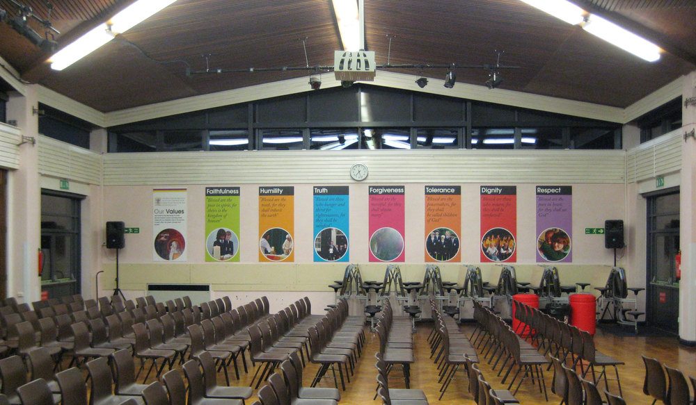 View of all 8 display boards in our Main Hall