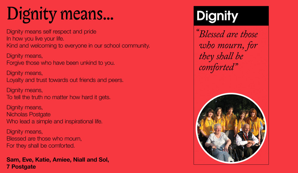 7 Postgate wrote about what 'dignity means' to them (September 2013).