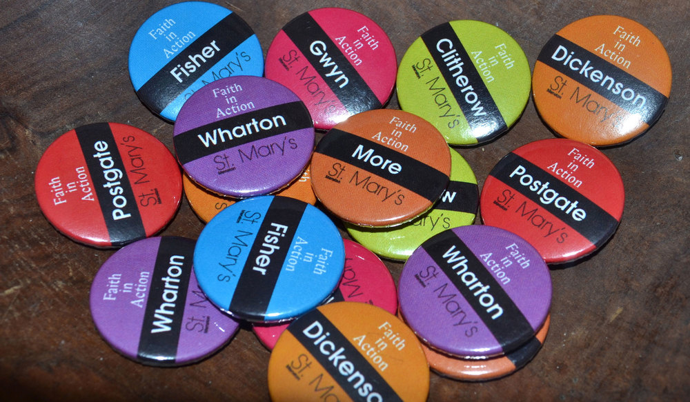 In September, each of our Year 7 pupils are given a badge with their form's value and colour.