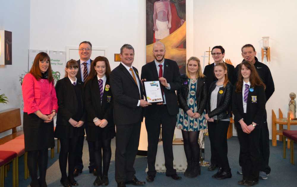 Photo: Stuart Andrew MP visits St. Mary's to congratulate staff and pupils on becoming a Fairtrade School, March 2014