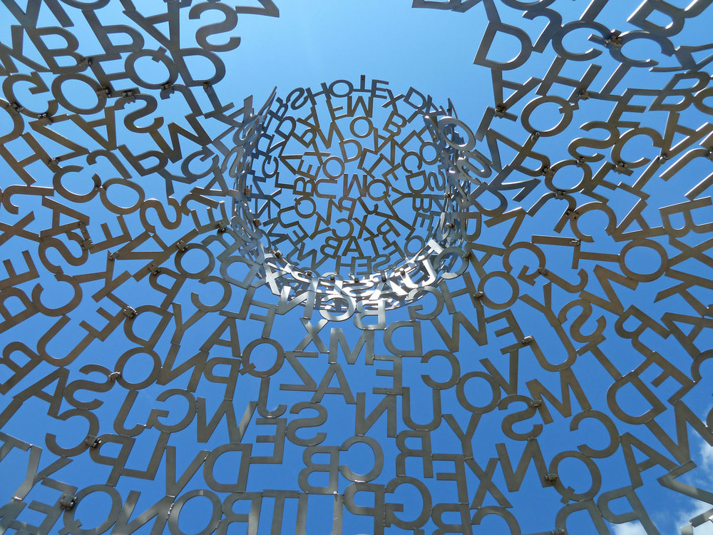Photo:  House of Knowledge  by Jaume Plensa. Looking up from inside.
