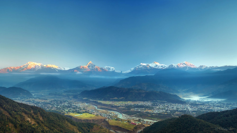 Photo: Nepal is in the Himalayas. Mountain sunrise, Sarangkot, Pokhara, Nepal.