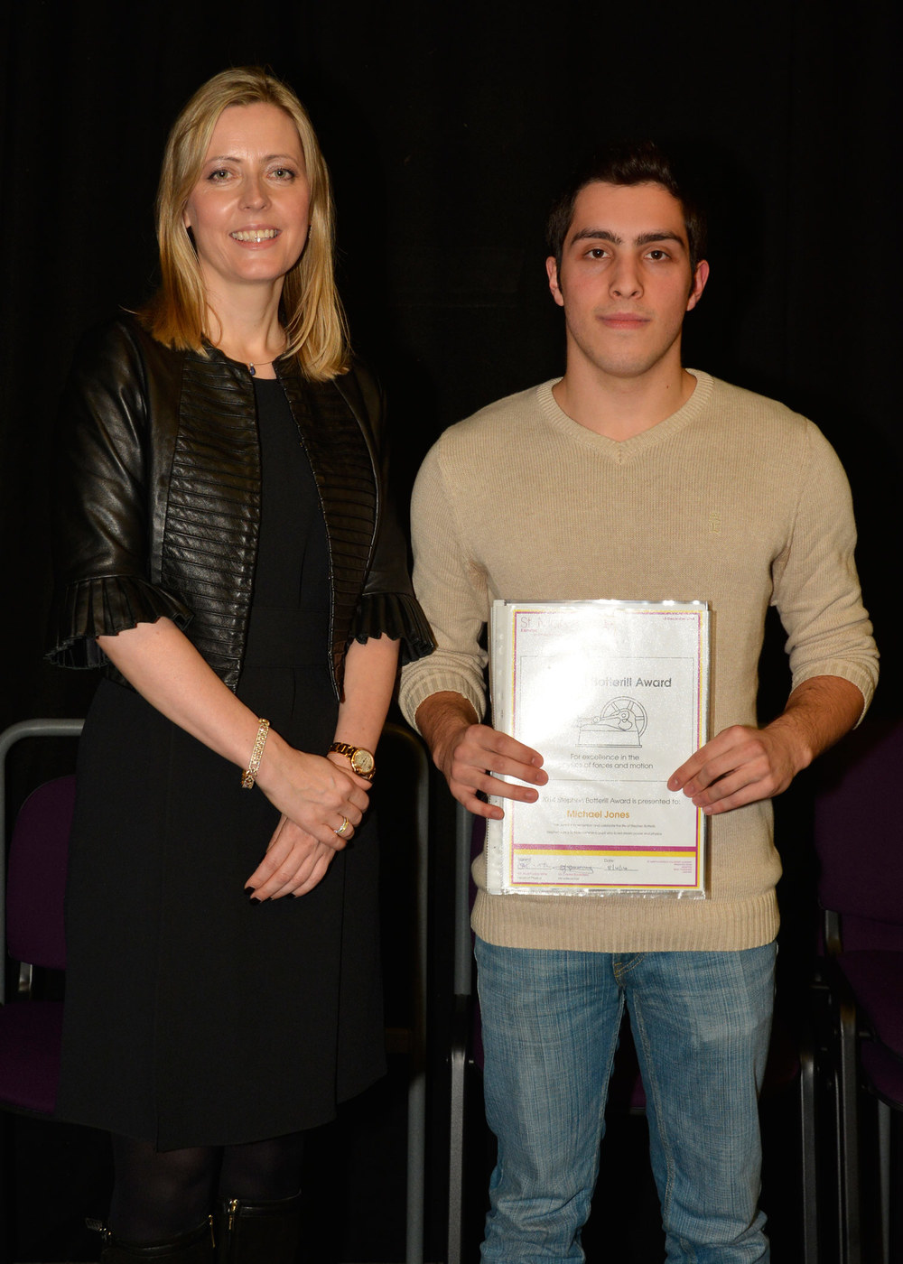 Photo: Former St. Mary's Menston pupil Joanne Milner, CEO of Debretts with Michael Jones, Year 13 Presentation Evening, 18 December 2014