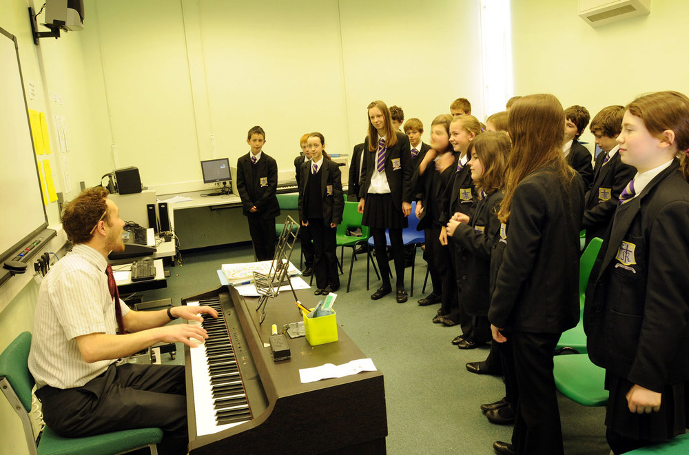 Music lesson, trainee teacher at St. Mary's Menston