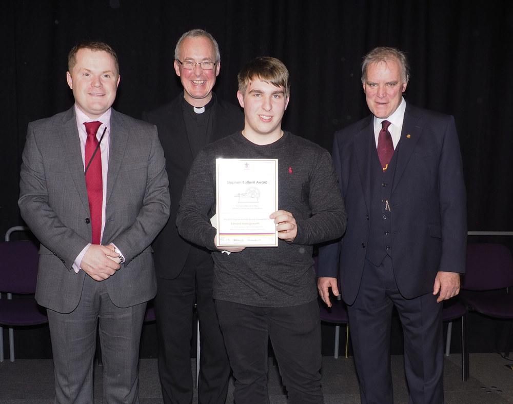 Photo: Mr Darren Beardsley, Headteacher, Former St. Mary's Menston pupil Monsignor Paul Grogan, Edward Hollingsworth, Mr Bob Lavery, Chair of St. Mary's Menston Academy Council. Year 13 Presentation Evening, 17 December 2015