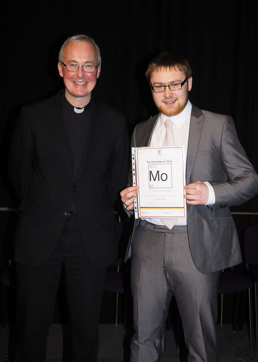 Photo: Former St. Mary's Menston pupil Monsignor Paul Grogan with Jordan Willis, Year 13 Presentation Evening, 17 December 2015