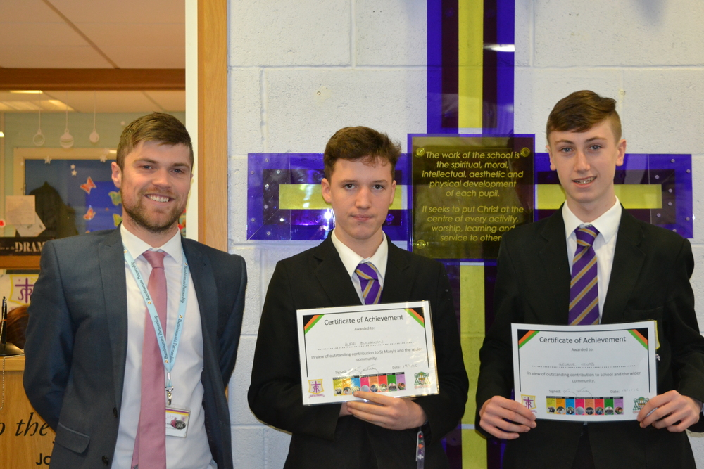 George Grubb 10C and Alfie Buchanan 10F were presented with the award for Outstanding Contribution to St. Mary's.