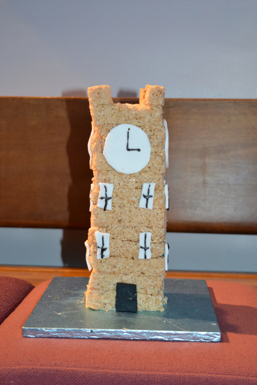 Photo: The clock tower is made from Rice Krispies