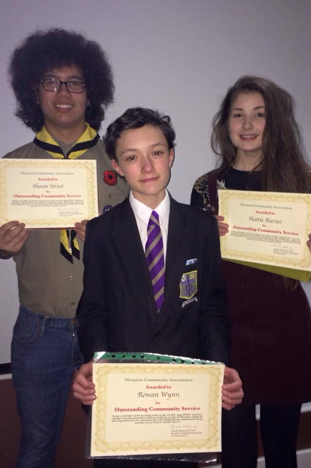 Photo: (LEFT TO RIGHT) Shaun Street 11P, Rowan Wynn 9P and Hattie Barnes 10C with their awards