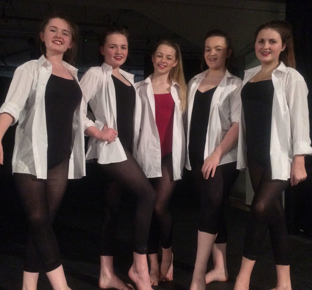 Photo: Key Stage 4 Leeds Dance Champions Left To Right: Chloe Williams, Devon Mitchell Mccann, Alicia Wilson (Choreographer), Gabriella Vento and Freya-Poppy Bowden