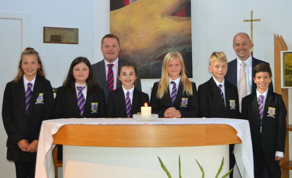 Photo: Mr Darren Beardsley (Headteacher) and Mr M Harvey (Year 7 Student Progress Leader) with Year 7 pupils in our Chapel, 8 September 2016