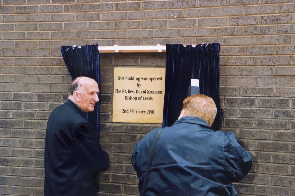 Photo: Bishop David Konstant opening our Hume Building, 2 February 2001