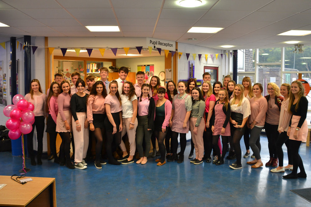 Photo: Sixth form Students wearing pink and living out the St. Mary's values