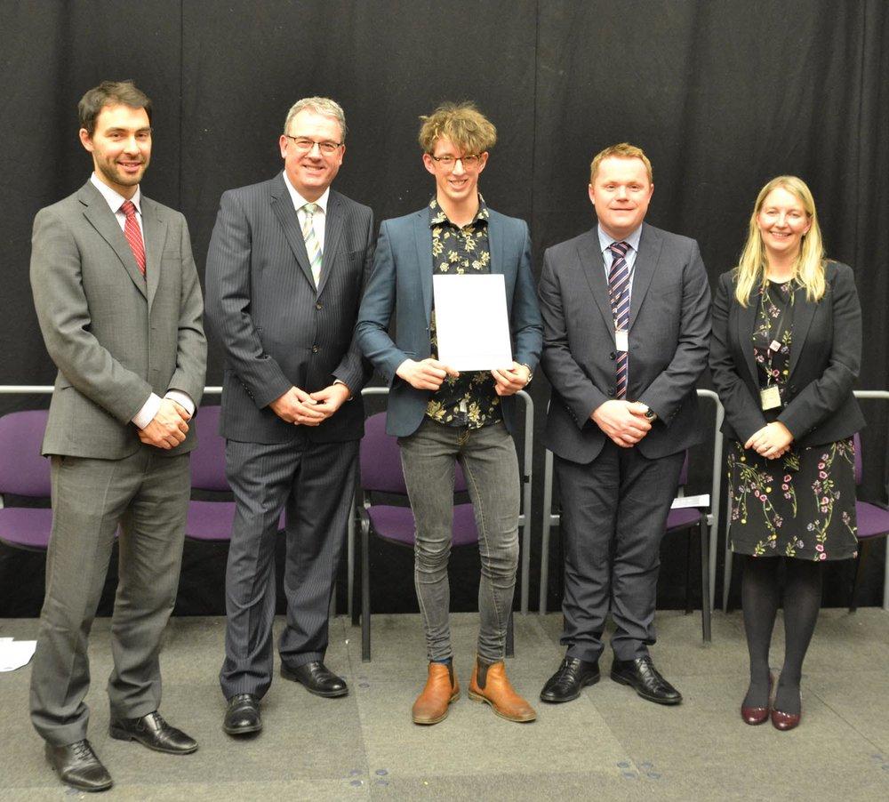 Mr James Trickett (Co-Head of Sixth Form), Mr Duncan Wood, Matthew Farmer, Mr Darren Beardsley (Headteacher), Mrs Nicola Bean (Co-Head of Sixth Form)