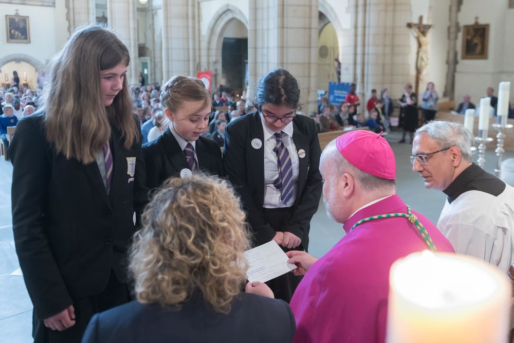 Photo: Presenting our cheque for Catholic Care to Bishop Marcus