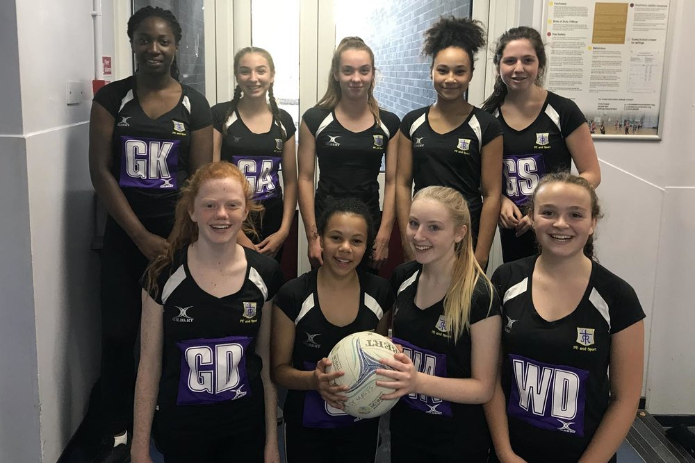Year 9 Netball Team. L-R Back: Ose Smart, Isobel Farmer, Elizabeth Russell, Eve Midgley, Tilly Heath. L-R Front: Eva Curran, Amelia Kiwomya, Millie Helliwell, Rachel McCormack  Our Year 9 team are currently top of the  LSNA League Division 1 , winning all three games and scoring 40 goals.