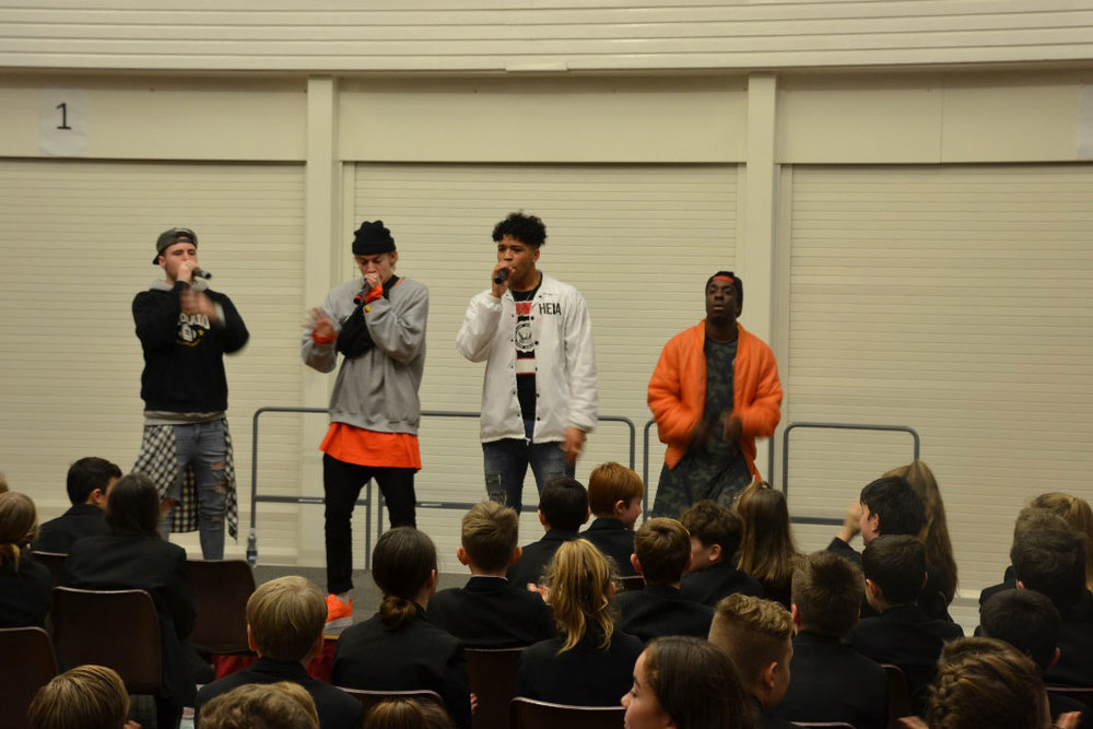 New Kings Order performing for Years 7 and 8
