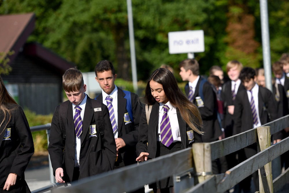 Photo: Arriving at school by bus