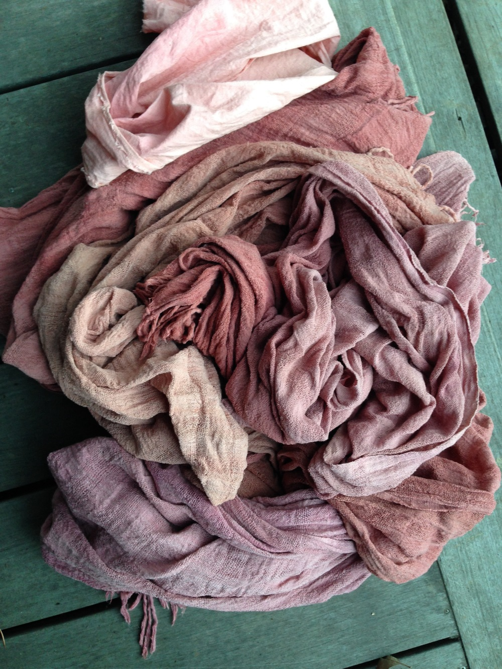 these scarves are dyed with both cochineal and madder root