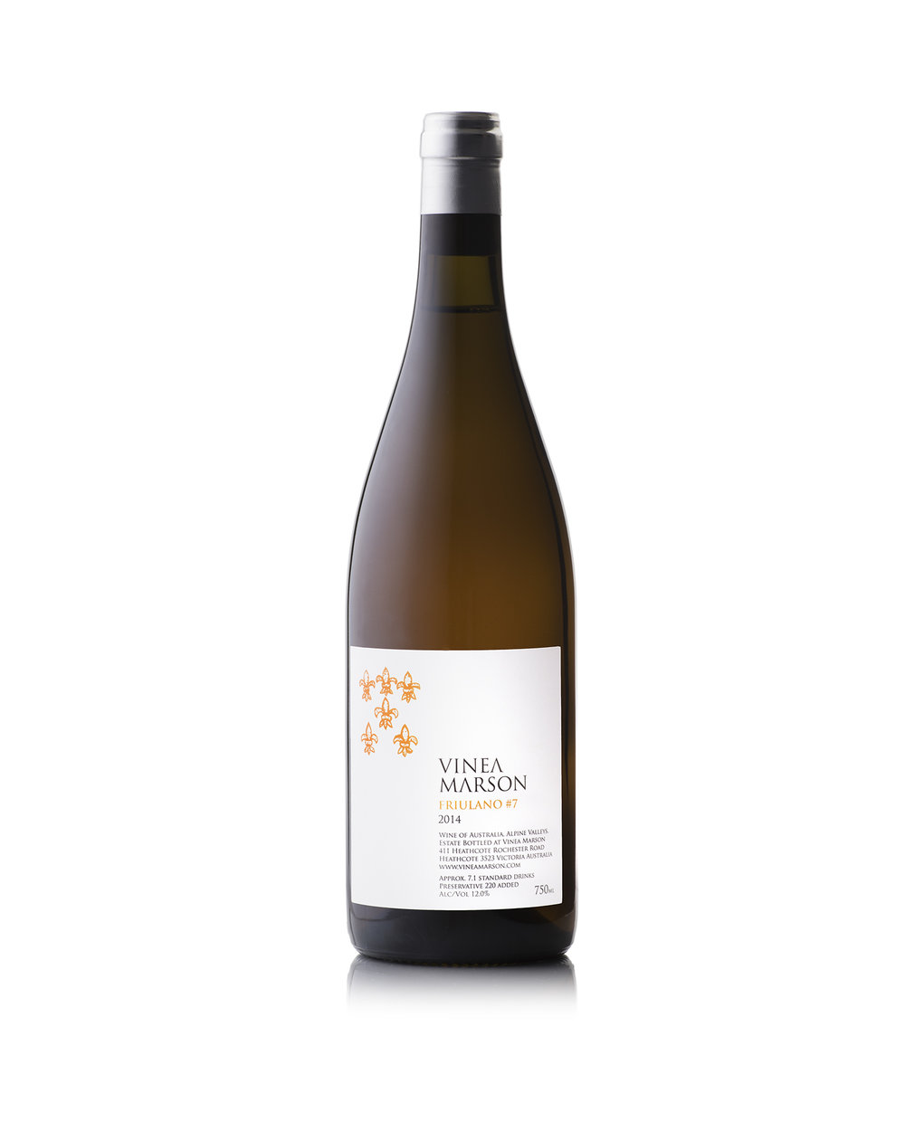 2014 Friulano #7 - 12.0% alc/volVinea Marson's first orange wine is made from fruit grown for Vinea Marson in the Alpine Valleys of north-eastern Victoria.The Friulano #7 possesses a vibrant orange hue, due to the seven days it spent on skins during fermentation. It displays enticing aromas of poached pears and orange blossom, followed by elegant phenolics on the palate and a pleasant, lengthy finish. This full-bodied and textured wine is best enjoyed with white meat such as veal, chicken and pork and fish including salmon and snapper.