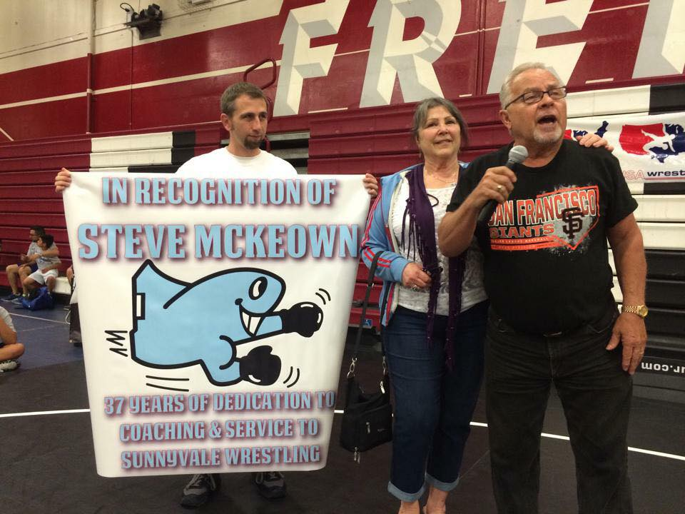 Coach McKeown, his wife Jo, and Coach McCune at the SHS Jet Memorial Tournament at Fremont High School 5/2/15. Coach McKeown was honored for his many years of dedication to Sunnyvale Wrestling.