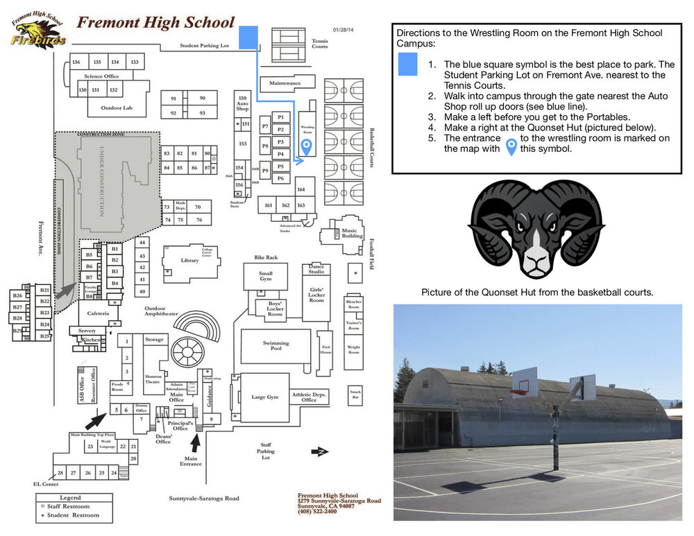 Directions to the FHS Wrestling Room 575 W. Fremont Ave. Sunnyvale, CA 94087