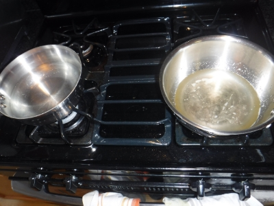 PAN a ON THE LEFT AND PAN B ON THE RIGHT. pOUR PAN A INTO PAN B SLOWLY THEN USE AN EMULSION BLENDER TO MIX