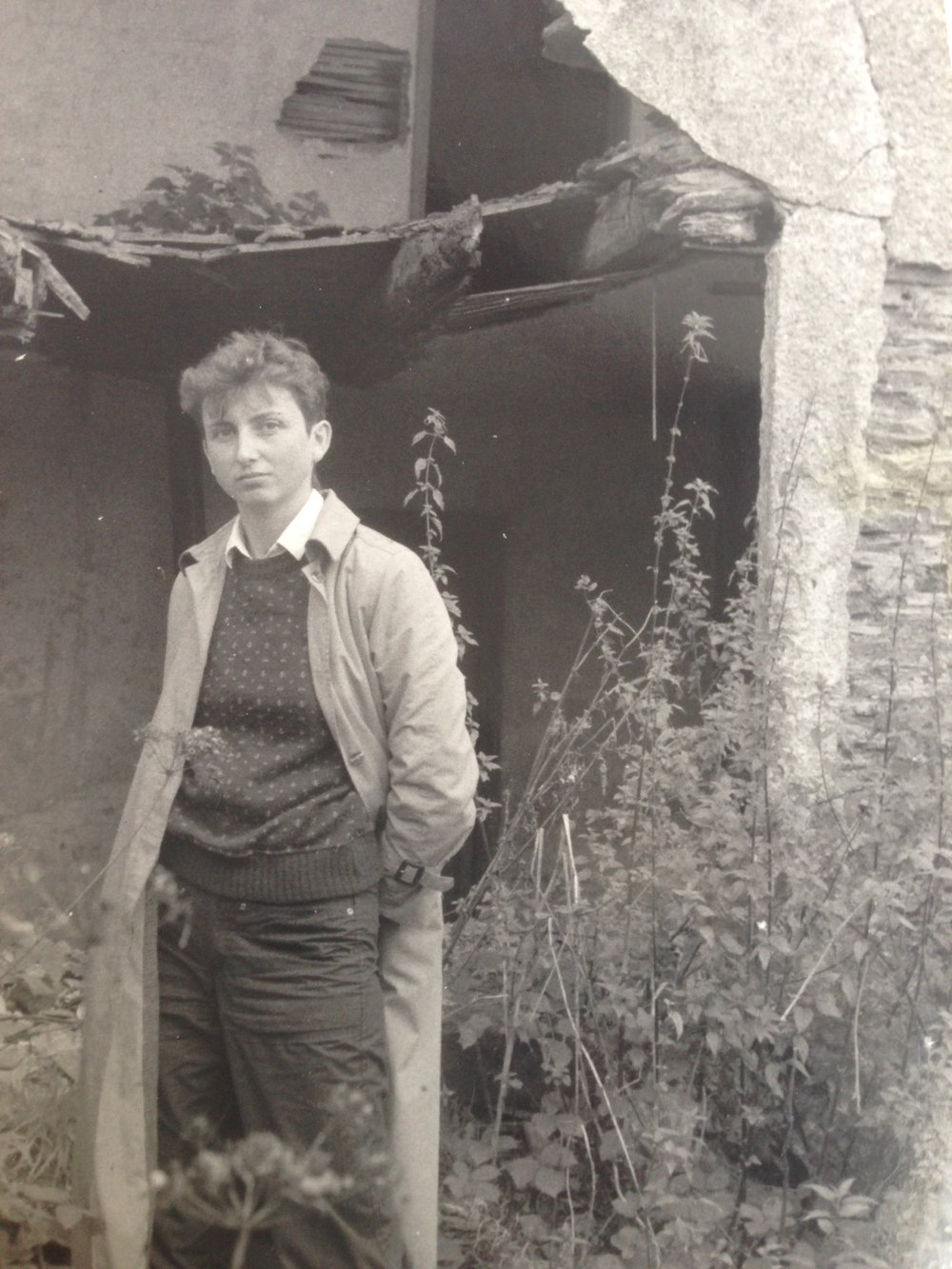 Hazel as a teen, on a farm in the southwest of England, where she grew up