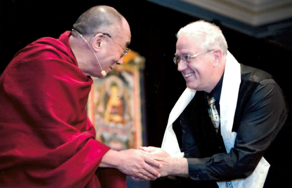 Steve receives the Dalai Lama's blessing.
