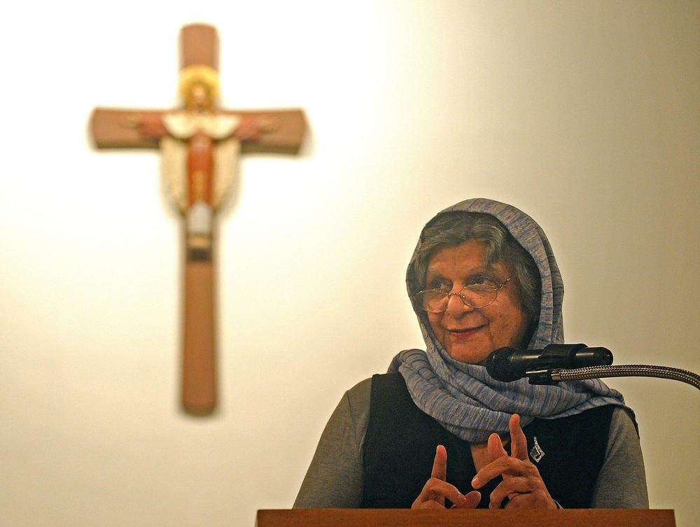 Mary Lahaj speaks at a Christian church during an earlier interfaith presentation. She recently helped with a Jewish-Muslim  joint service in Wayland.