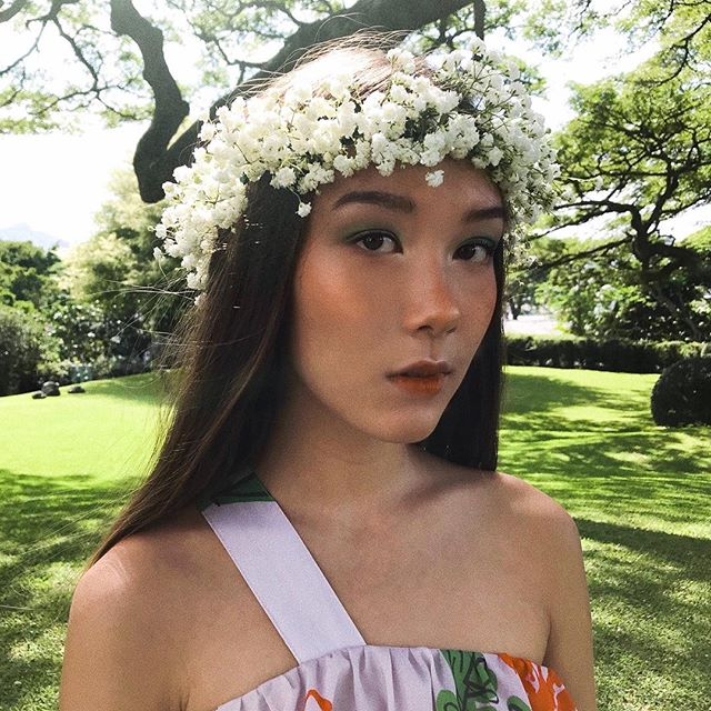 70s forest nymph vibes for a @honolulumag story on @rumi_murakami's #hamakuastateofmind collection! sprouting on hawaii newsstands in february 🍄 beautiful floral headpiece by @jeffalencastre!