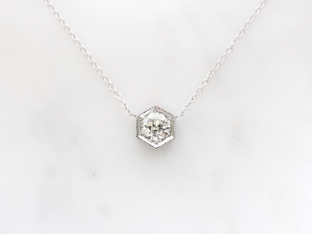 1.76ct old european cut diamond set in 14k white gold hexagon necklace