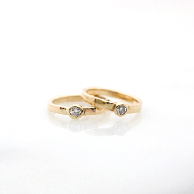 18k yellow heirloom gold sister rings with Canadian diamonds