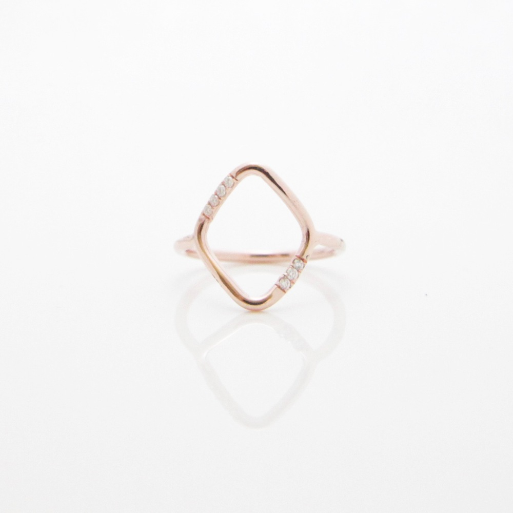 14k rose gold and 7 diamond open geo