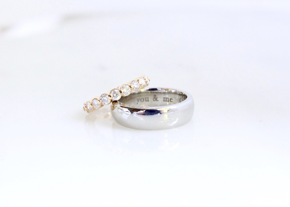 Custom 18k gold and diamond wedding set
