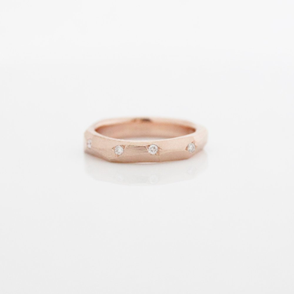 4 diamond faceted band 14k rose gold