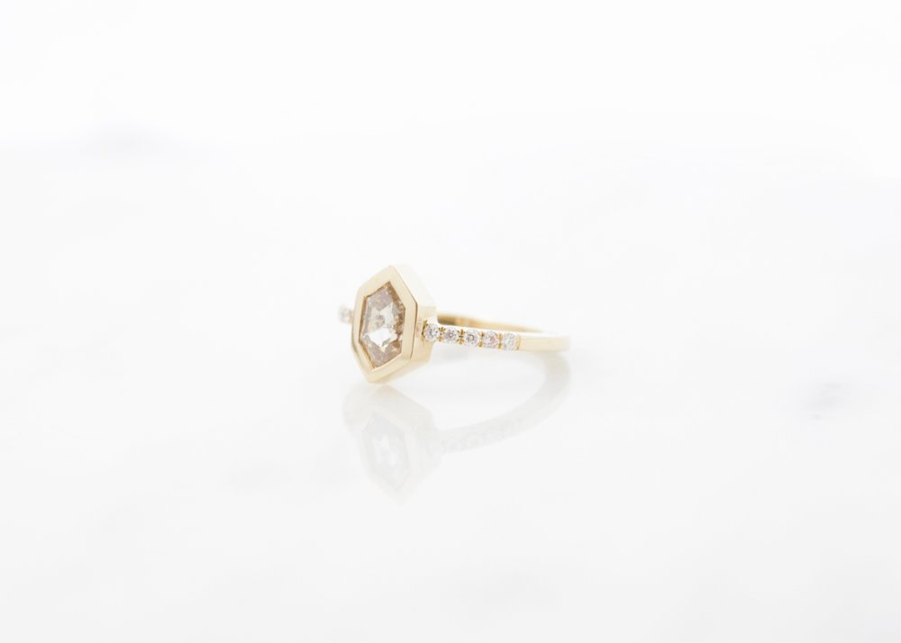 Custom champagne hexagon diamond ring 18k yellow gold