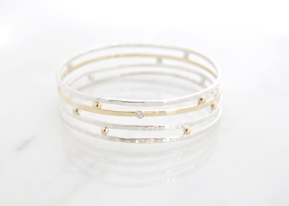 18k yellow gold, diamond, silver bangle