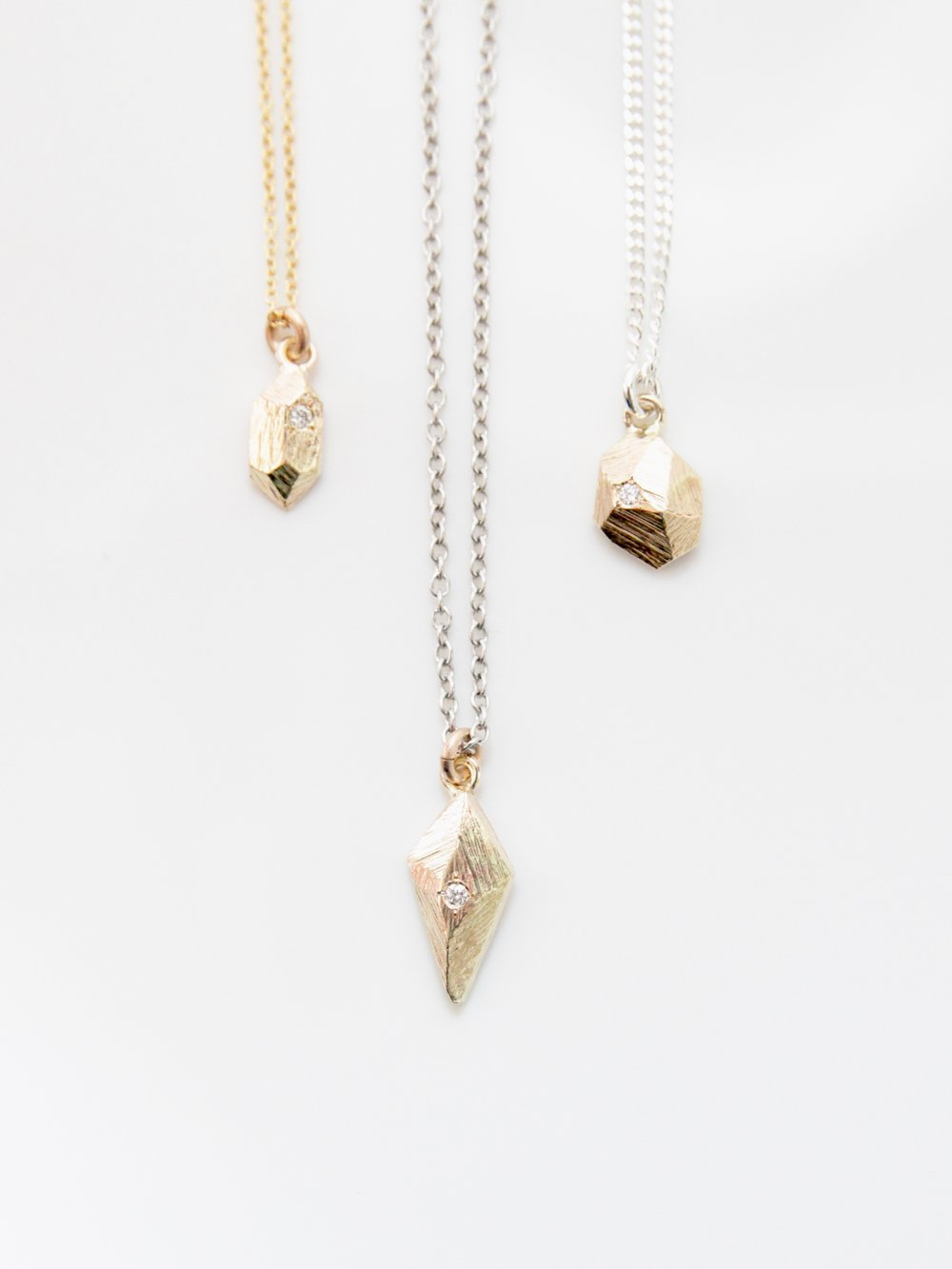 one of a kind 14k gold faceted geo necklaces