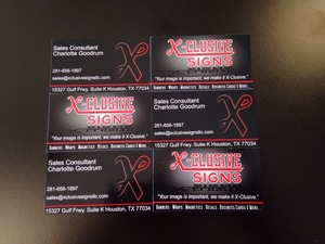 Business cards x clusive signs houston sign company signs business cardsg reheart Images