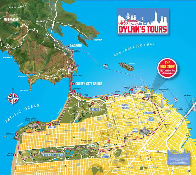 Dylan's Tours map