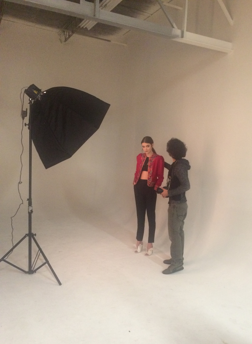 On set with photographer Kevin Alexander and model Sophia Crawford, Donna Baldwin Agency