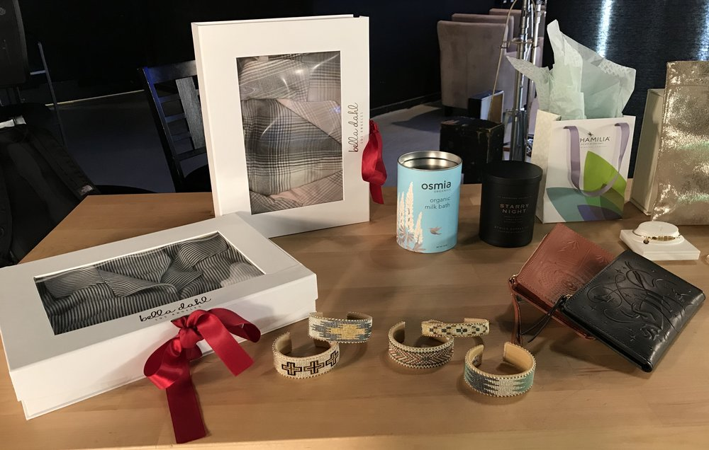 On set at Colorado's Best (from left to right): Bella Dahl pajamas, Etkie cuffs, Osmia Milk Bath, Ethics Supply Co. candle, Animal Handmade wallets