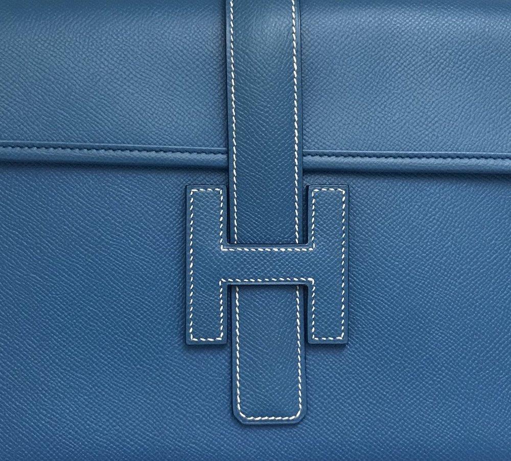 Detail of Hermes handbag stitching