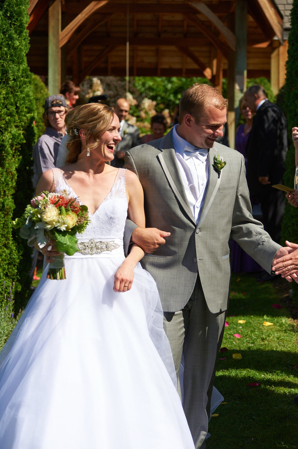 Back down the aisle, this time as husband and wife