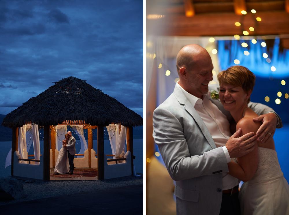 the wedding reception under lights