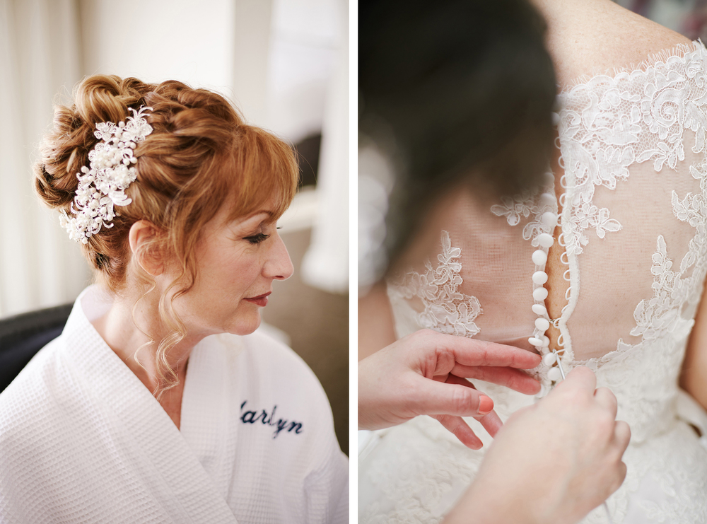 Bridal hair and detail buttons